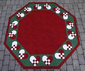 Elisabeth juletræstæppe med 16 hjerter mønster